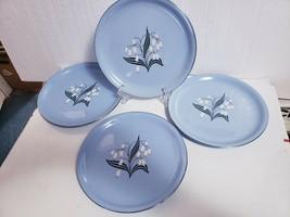 "Vintage 1950s Homer Laughlin Skytone BLUE MIST 9"" Luncheon Plates - Set of 4 - $28.70"