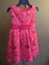 RARE EDITIONS Girl's Coral Rosette Sequin Sleeveless Dress Size 4 - $11.75