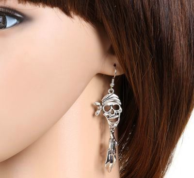Silver Pirate Skull and Hands Skeleton Halloween Scary Earrings