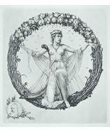NUDE EX LIBRIS Flower Queen in Wreath of Roses - 1922 Lichtdruck Print - $16.20