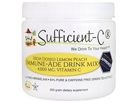 Sufficient-C High Dose Non-GMO Vitamin C - Lemon Peach Immune-Ade drink mix 250