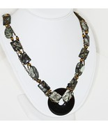Forest Green and Black Beaded Necklace with Cha... - $58.00