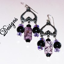 Purple and Black Dangle Earrings Agate with Crystal Chandelier Reverse H... - $11.00