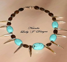 Large Turquoise Beads Natural Shell Points Brown Bronzite Beaded Necklac... - $30.00