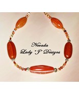 Peach Rust and Brown Stone and Wood Beaded Neck... - $45.00
