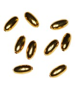 Gold Finished Narrow Oval Metal Beads Findings ... - $5.50