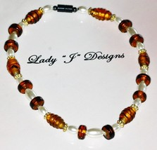 Brown Glass and Magnetic Pearl Beaded Choker Ne... - $9.50