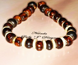 Large Chocolate Brown Beaded Necklace with Beige Beads Necklace Handmade... - $22.00