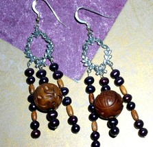 Blackberry Pearl and Wood Beaded Dangle Earrings Chandelier Handmade USA - $8.00