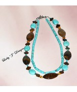 Turquoise and Brown African Opal Double Beaded ... - $70.00