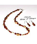 Brown Tan Stone Burgundy Crystal Accent Beaded ... - $80.00
