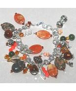 Peachy Beaded Charm Bracelet Orange Green Sterl... - $42.00