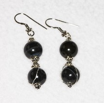 Black Agate Dangle Earrings Sterling Silver Career Handcrafted USA  - $12.00