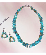 Turquoise Beaded Necklace with Amber and Sterli... - $95.00