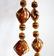 Brown Cockle Shell Beaded Necklace and Dangle Earrings Handmade USA - $20.00