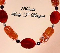 Red Agate Beaded Necklace Oval Volcano Agate Rust Handmade Free Shipping... - $38.00