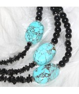 Turquoise Triple Strand Beaded Necklace Black T... - $69.00