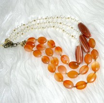 Triple Strand White Pearl Red Agate and Sardonyx Beaded Necklace Free Sh... - $57.00