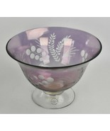 "Lenox Etchings Amethyst Crystal Glass Serving Bowl 9"" Purple Unused with... - $45.00"