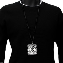 Mens Simple Swag Pendant Acrylic Hip Hop Ball Beaded 36 Inch Chain Necklace - $12.86