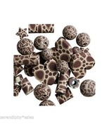 Polymer CLAY Bead Mix ~Brown Giraffe Pattern ~ Lot of 36 beads ~ Numerou... - $4.97