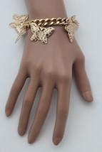 New Women Gold Metal Chain Bracelet Multi Butterfly Charm Wrist Trendy Jewelry - $14.69