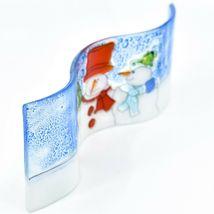 Fused Art Glass Winter Holiday Snowmen Snow Wavy Sun Catcher Handmade in Ecuador image 5
