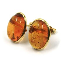 18K YELLOW GOLD EARRINGS, CABOCHON CENTRAL OVAL AMBER 16x13 mm, MADE IN ITALY image 2
