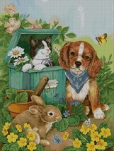 Pets in garden- cross stitch pattern pdf -Chart Needlework Craft - $7.00
