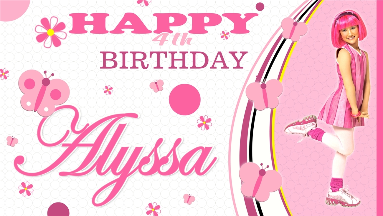 LazyTown Stephanie Custom-Personalized- Artist Vinyl Birthday Banner Decoration