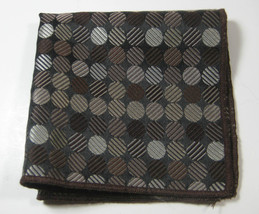 ULTRA RARE Rich Metallic Brown Circles Polka Dot  Pocket Square 100% Silk - €40,61 EUR