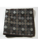 ULTRA RARE Rich Metallic Brown Circles Polka Dot  Pocket Square 100% Silk - £37.26 GBP