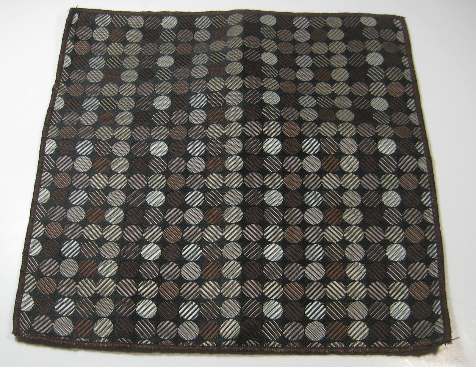 ULTRA RARE Rich Metallic Brown Circles Polka Dot  Pocket Square 100% Silk