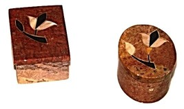 Two Marble/Stone Small Trinket Boxes W/decor. inlay-India - $10.50