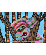 pinata bear original art painting animals colorful nature wildlife Eliza... - $39.99