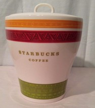 2005 Starbucks Coffee Canister Orange Red White Green Striped  - $32.71