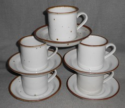 Set (5) Dansk Brown Mist Pattern Cups And Saucers Niels Refsgaard Denmark - $79.19
