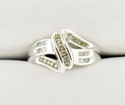 10k White Gold Moissanite Diagonal Bypass-Style Ring - $259.95