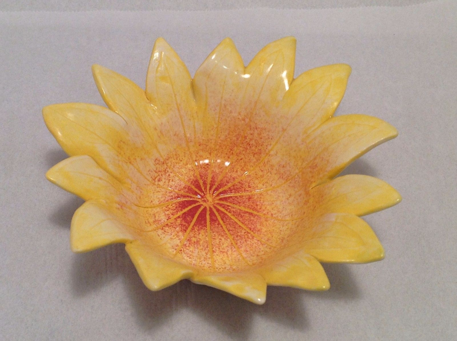 Hand Made ceramic Leaf Bowl with Lupine impression Perfect snack or citrus bowl