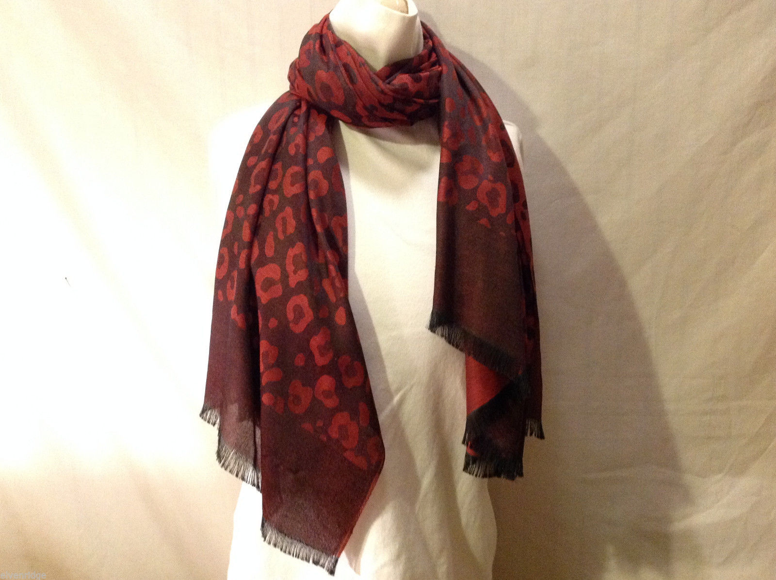 Women's Silky Red Scarf Animal Leopard Jaguar Spotted Print Light Fringe Trim