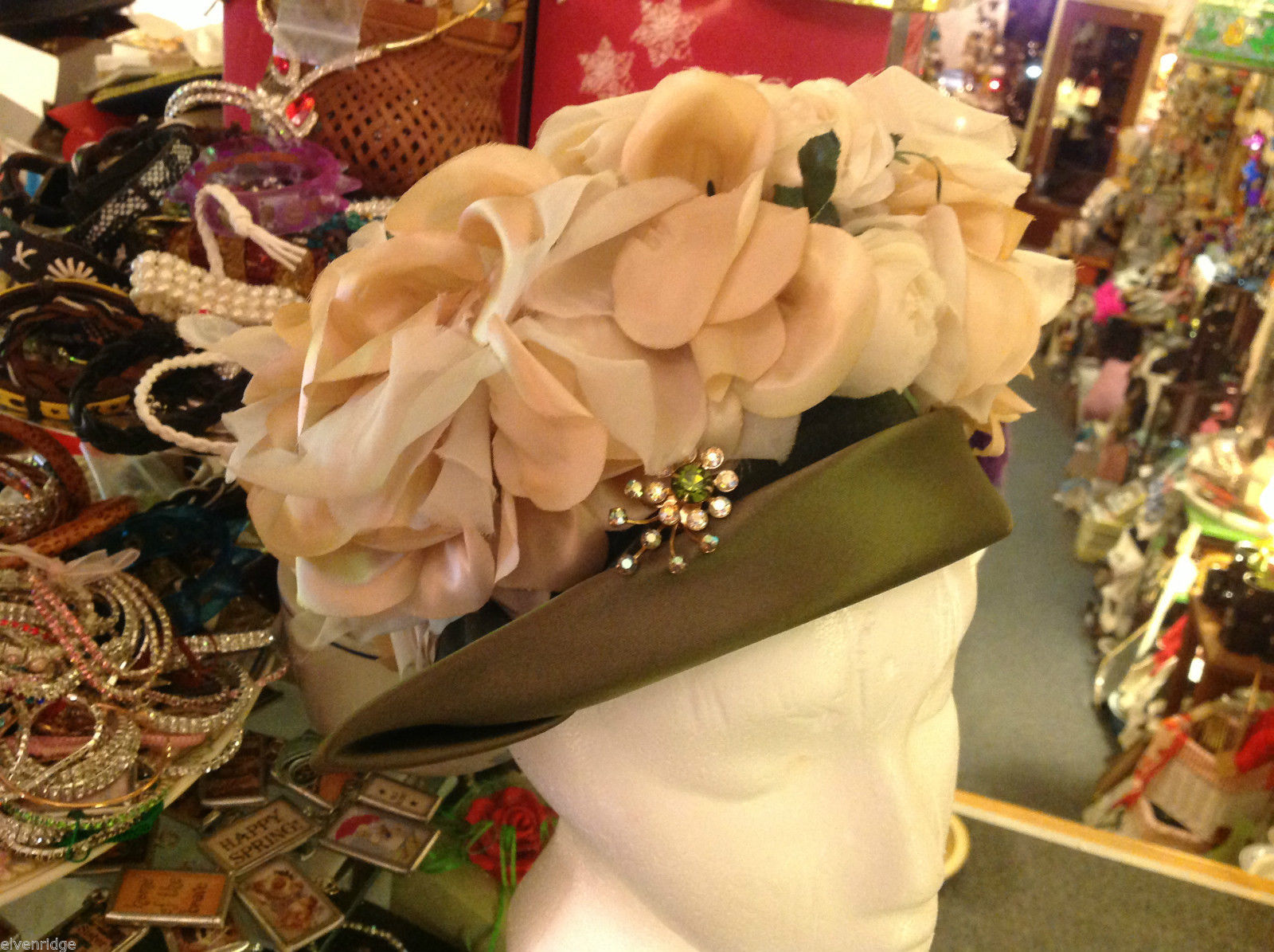 Vintage green flowery Easter bonnet with stunning rhinestone decorative pin