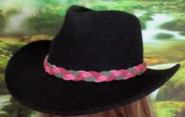 Custom Made MultiColor Pink & Green Braided Leather Hat-Band, Leather Suede - $23.95