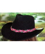 American Made! Multi Color Pink & Green Braided Leather Hat-Band, Leathe... - $23.95