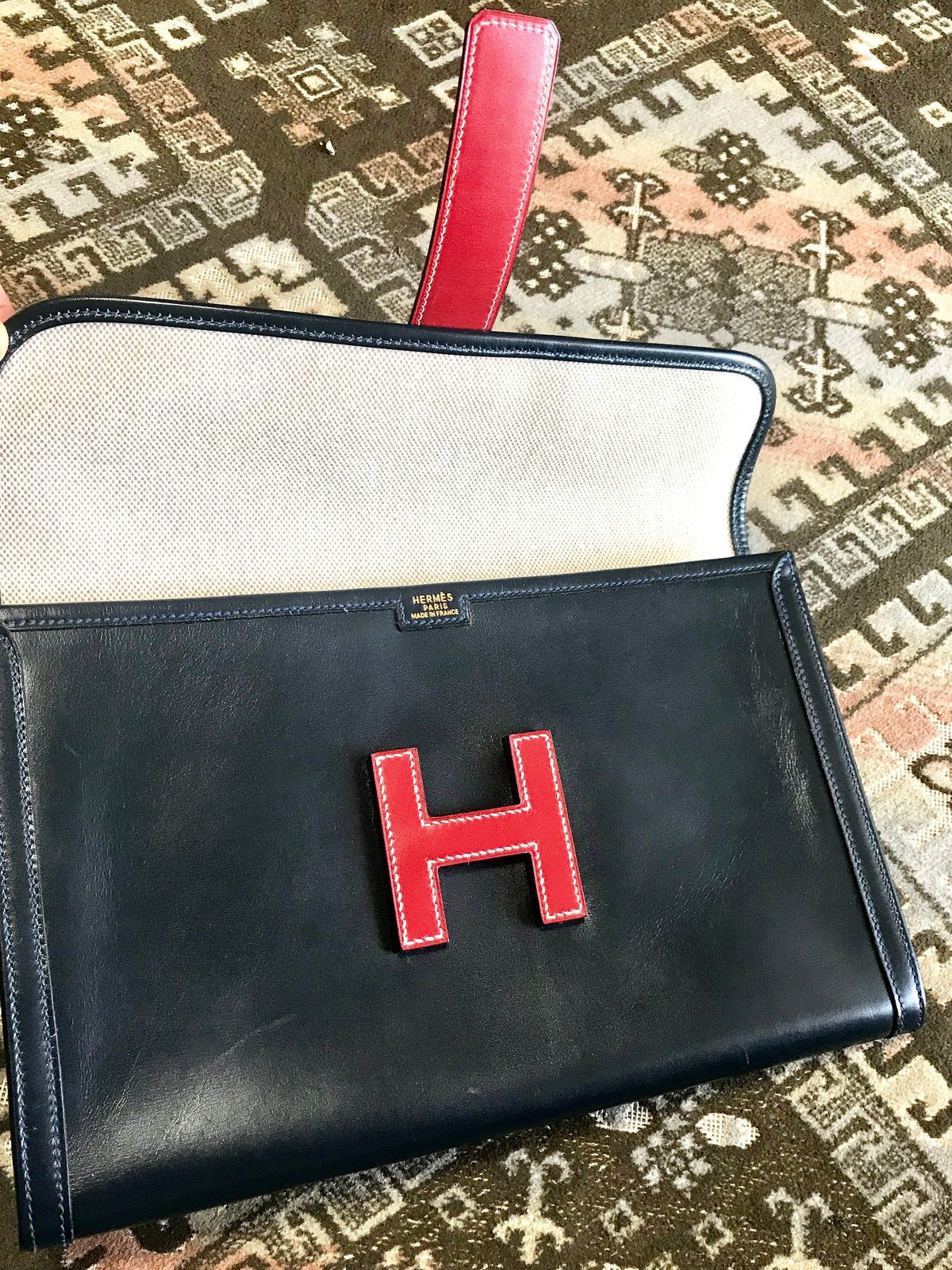 Vintage HERMES navy and red jige PM boxcalf leather document case, portfolio bag
