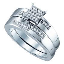 Sterling Silver Round Diamond Bridal Wedding Engagement Ring Band Set 1/10 Ctw - $119.00