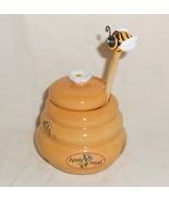 Ceramic Honey Pot and Bee Shape Wooden Decorati... - $19.95
