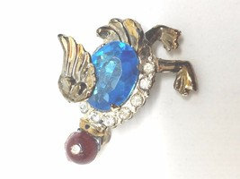Rhinestone Duck Goose with large blue stone body Vintage Pin - $13.49