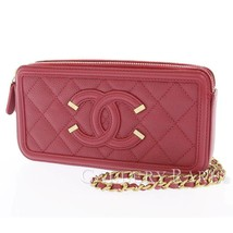 CHANEL Chain Wallet CC Filigree Calf Leather Wine Red A84450 Authentic 5... - $1,915.22