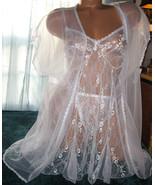 White Bridal 3 Piece Babydoll Nightgown & Robe Set 1X Sheer Cover Up Robe - $25.50