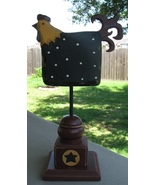 GF110- Black Rooster Wood on Stand  - $10.95